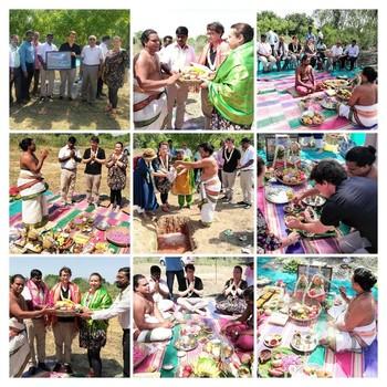Feierliche Grundsteinlegung für Neubau in Indien